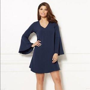 NY & Co Eva Mendes Bell Sleeved navy shift dress